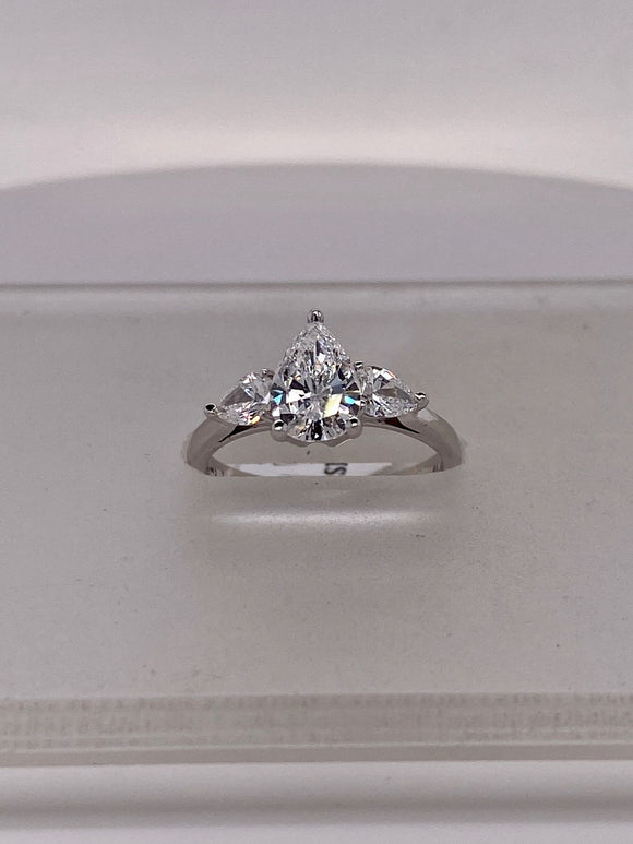 Pear-Shaped Diamond Engagement Ring with Pear Shaped Diamonds