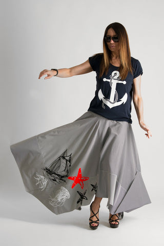 Summer Cotton Wide loose skirt with marine tshirt