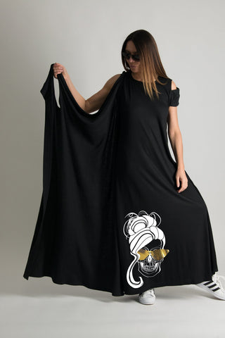 Black Dress, Long Cotton Jersey Dress, Casual Maxi Dress