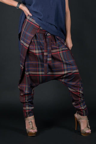 Blue Check Drop Crotch Pants, Harem Pants