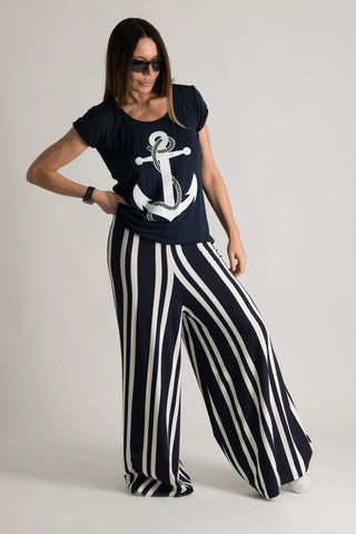 Women Plus Size Wide Pants, Stripe Marine Pants