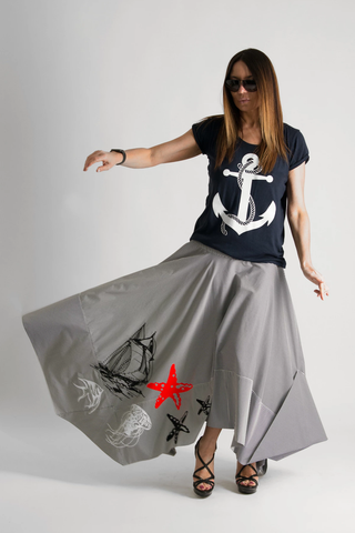 Marine Summer Asymmetrical Long Skirt, Elegant Maxi Stripe Skirt