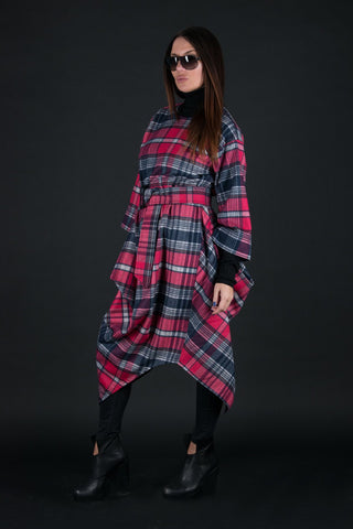 Autumn Winter Maxi Dress, Check Pink Cashmere Dress