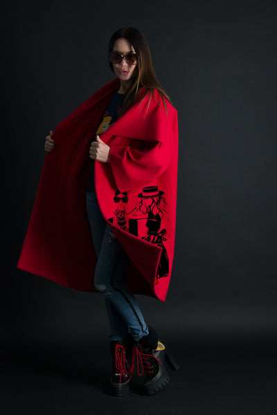 Red Cashmere Coat, Women Trendy Cape with wide sleeves