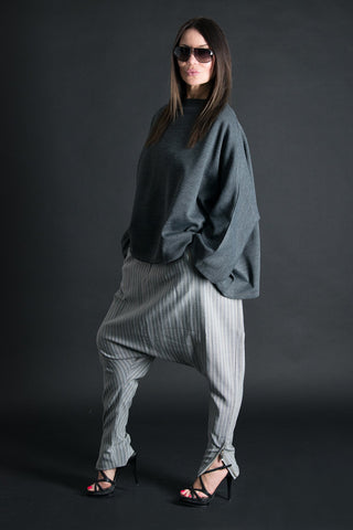 Grey Stripe Drop Crotch Pants, Harem Pants