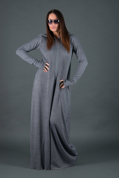 Wool Hooded Jumpsuit, Maxi Cotton Union Suit in Grey Color