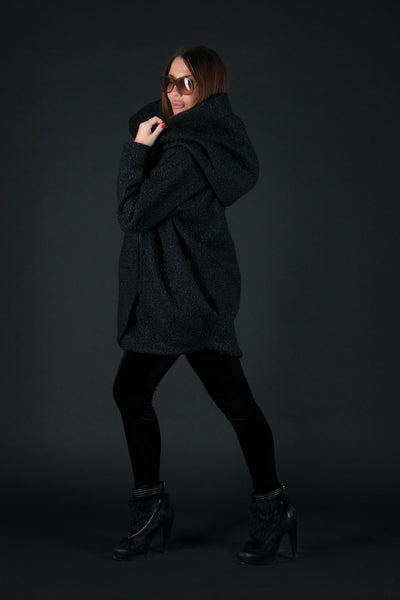 Black Wool Maxi Plus Size Women Coat