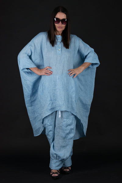 Blue Linen outfit, Summer Elegant tunic, Wide Legs Pants
