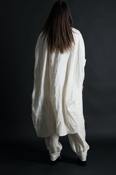 Natural Linen outfit, Summer Elegant tunic, Wide Legs Pants