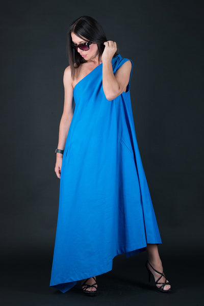 Blue Linen Dress, One Shoulder Dress, Long Dress, Party Dress