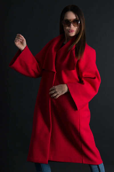 Red Cashmere Coat, Women Trendy Cape