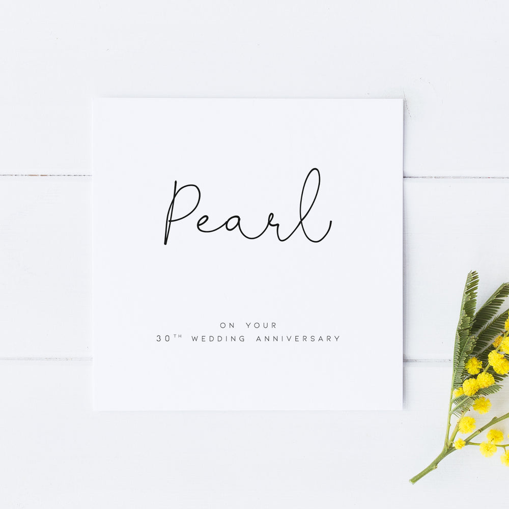30th Pearl Anniversary Card, Wedding Anniversary Card,For Wife, For Husband, For Friend, Thirtieth Anniversary Card, Anniversary Card