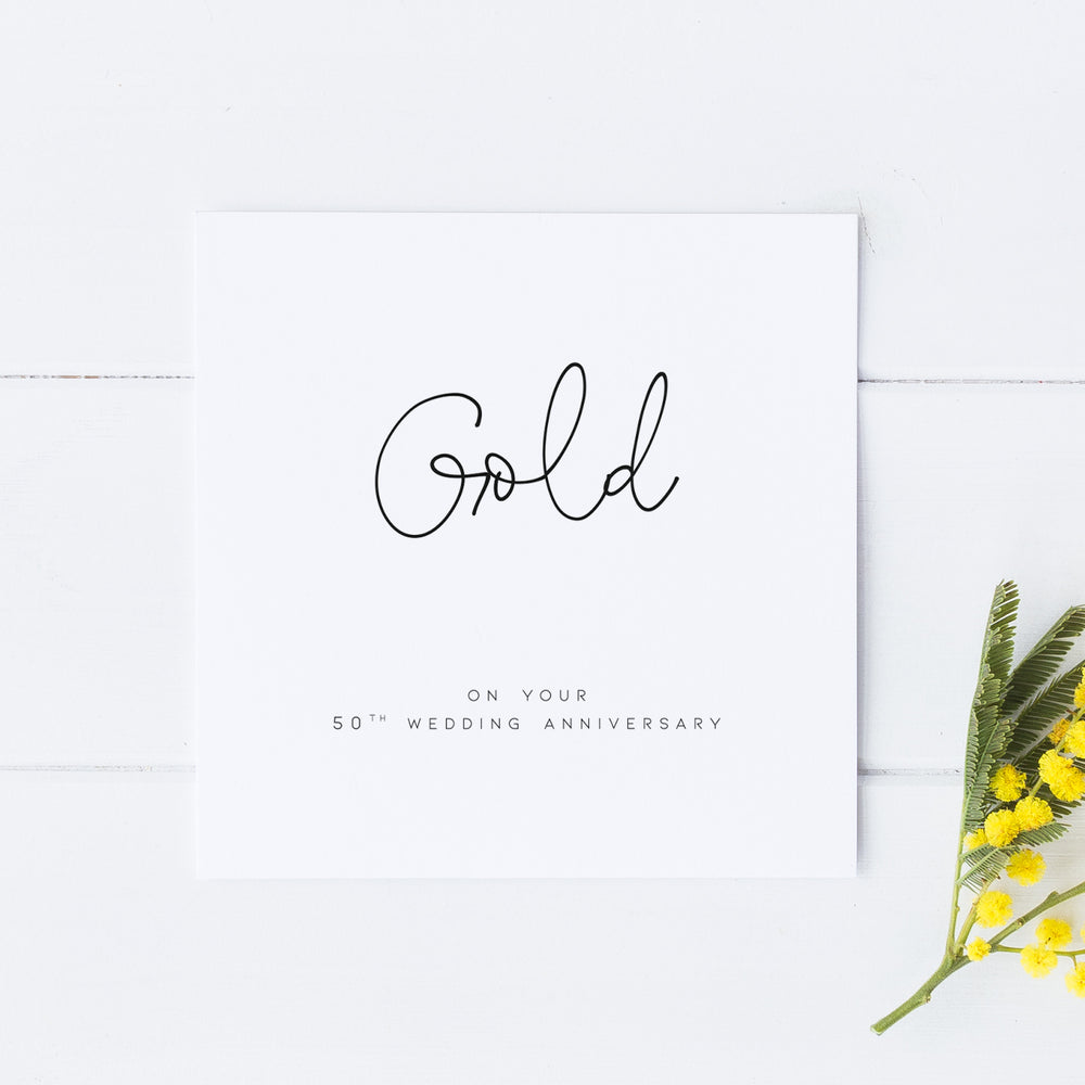 50th Gold Anniversary Card, Wedding Anniversary Card,For Wife, For Husband, For Friend, Fiftieth Anniversary Card, Anniversary Card