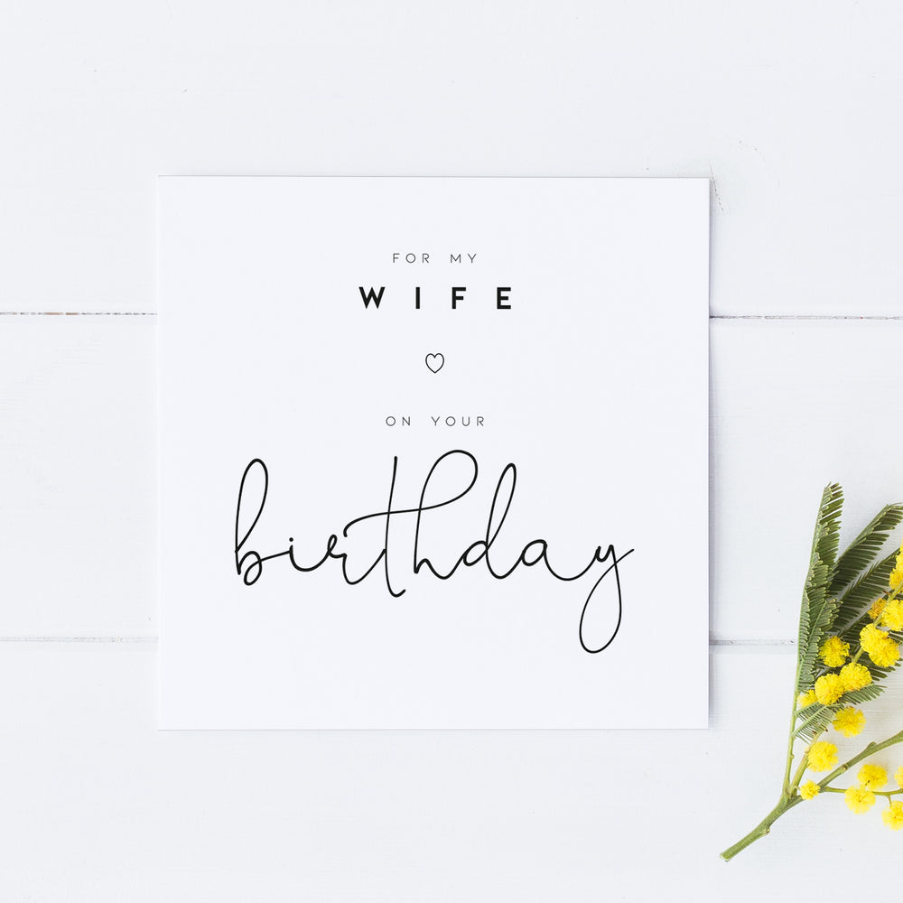 Birthday Card for Wife, Birthday Card for Her, Happy Birthday Wife, Wife Birthday Card, Simple Card for Wife, Birthday Card for Spouse