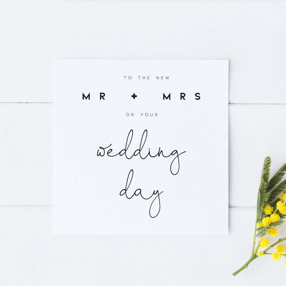 Mr and Mrs Wedding Day Card, Wedding Day Card for Couples, Wedding Card, Card for Bride and Groom
