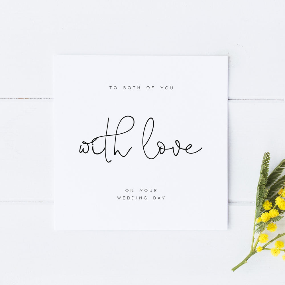 With love on your wedding day card, Wedding Day Card, Couple Wedding Day Card, Card for Couple, Bride and Groom Card