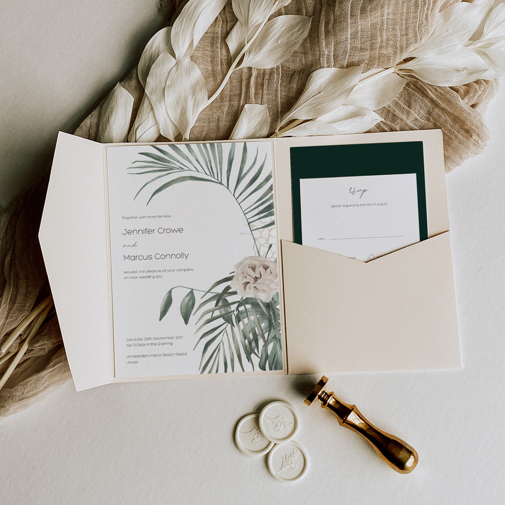 Tropical Pocketfold Wedding Invitation in Teal - Bourton Collection, Elle Bee Design