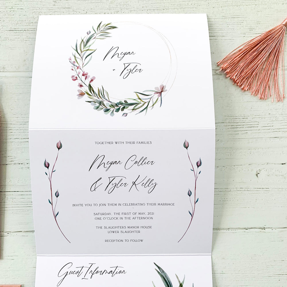 Botanical Wreath Concertina Wedding Invitation - Broadway Collection, Elle Bee Design