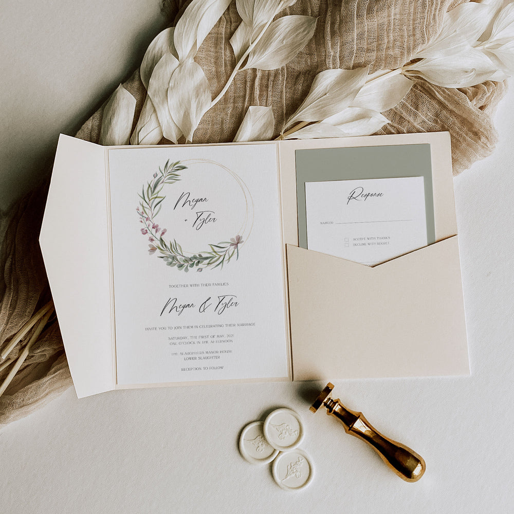 Elegant Lilac Pocketfold Wedding Invitation Suite with Vellum - Broadway Collection, Elle Bee Design