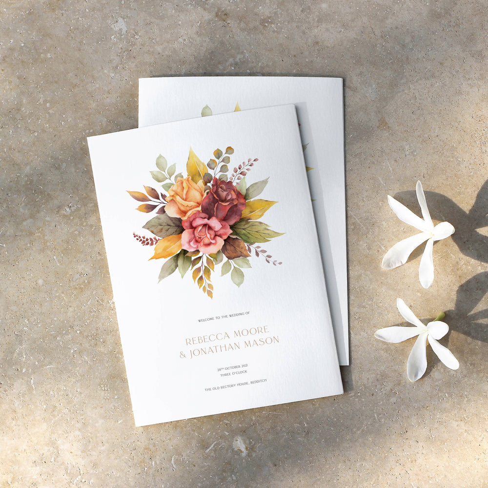 Autumn Floral Order of Service - Burley Collection, Elle Bee Design