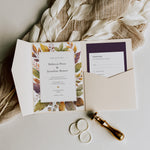 Autumn Pocketfold Wedding Invitation Suite in Purple - Burley Collection, Elle Bee Design
