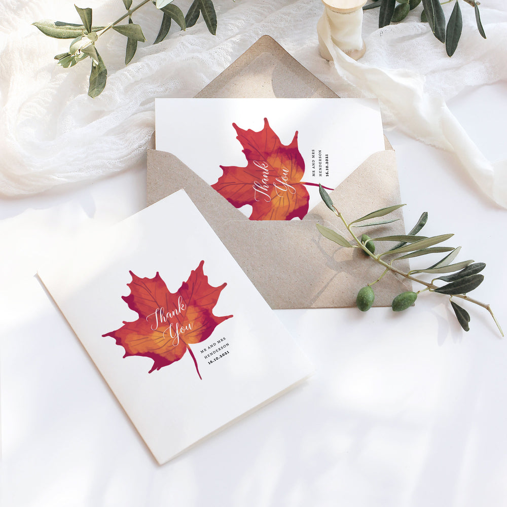 Autumn Wedding Thank You Card - Burnt Oak Collection