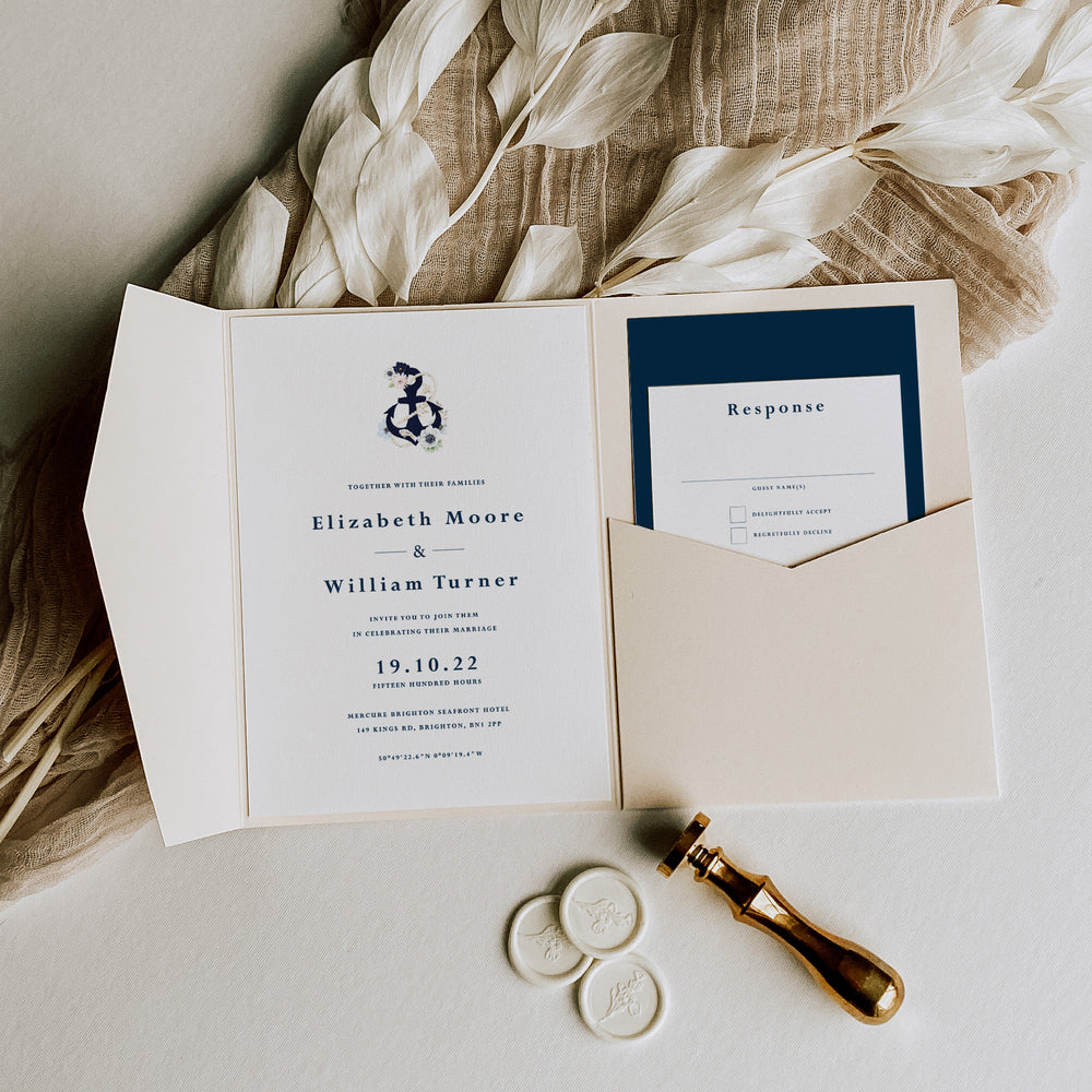 Nautical Pocketfold Wedding Invitation - Canary Wharf Collection, Elle Bee Design
