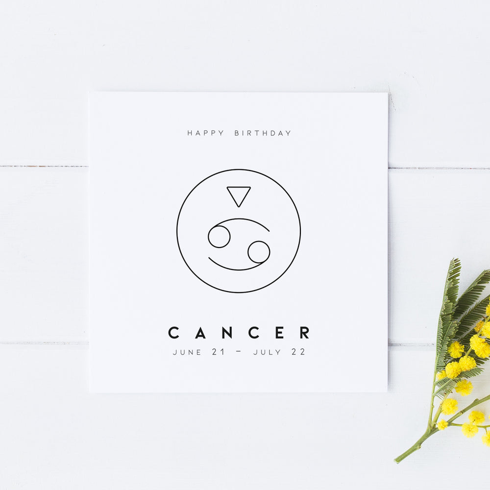 Cancer Star Sign Birthday Card, Birthday Card, Zodiac Birthday Card, Astrology Card, Signs of the Zodiac, Simple Birthday, Horoscope Card