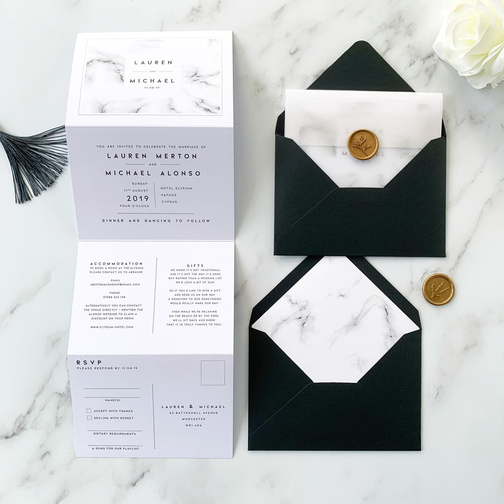 Marble Concertina Wedding Invitation - Chiswick Collection, Elle Bee Design