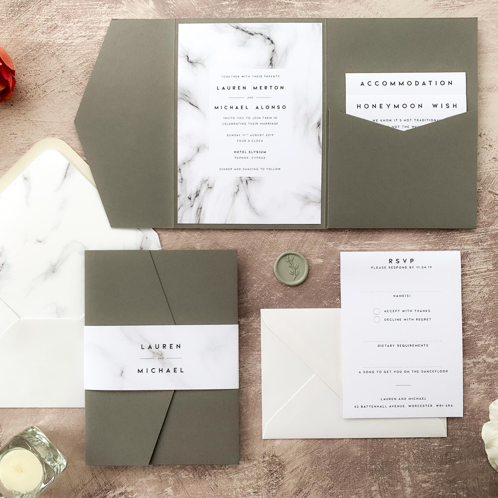 Monochrome Marble Pocketfold Wedding Invitation - Chiswick Collection, Elle Bee Design