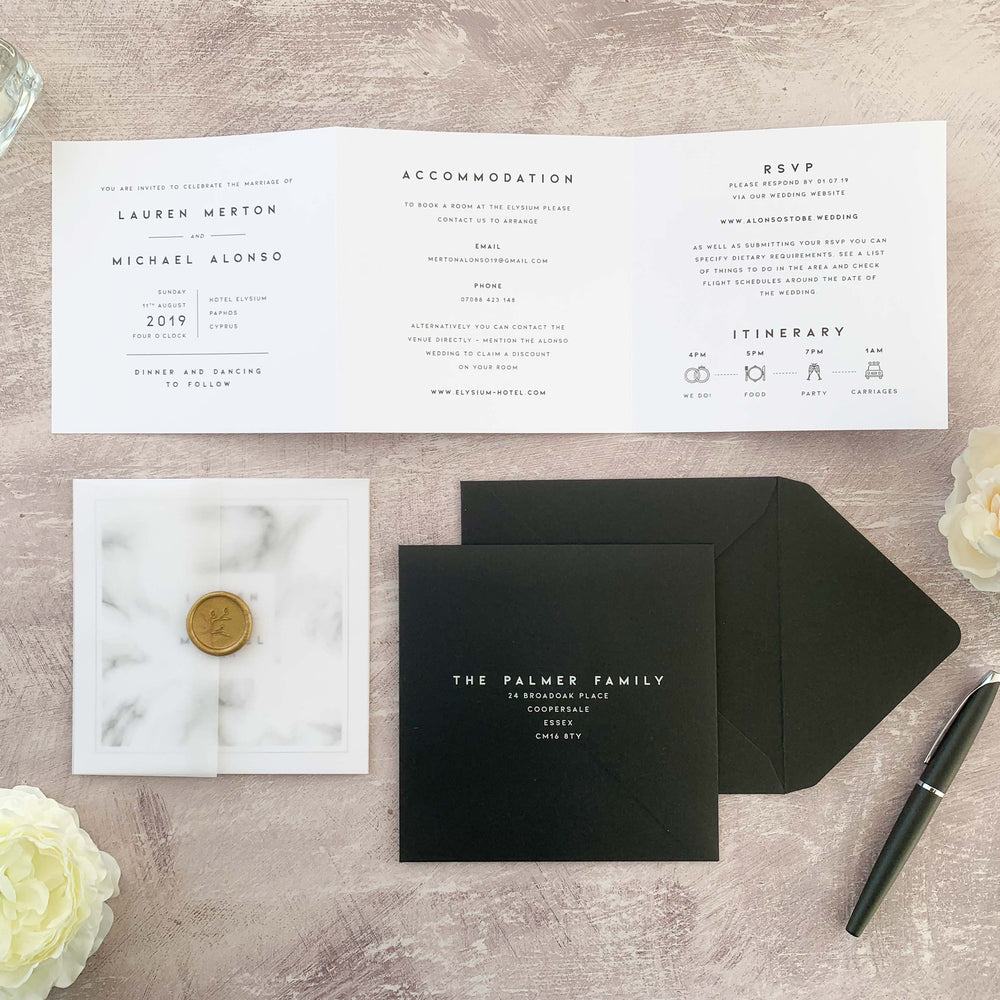 Marble wedding invitation, black and white invitation, modern wedding invitation