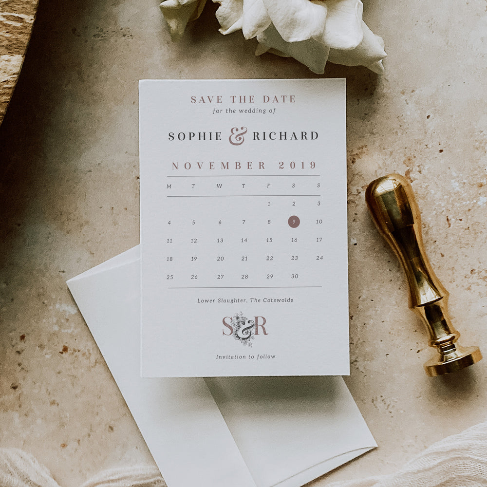 Vintage Floral Monogram Save the Date Calendar Card - Covent Garden Collection, Elle Bee Design