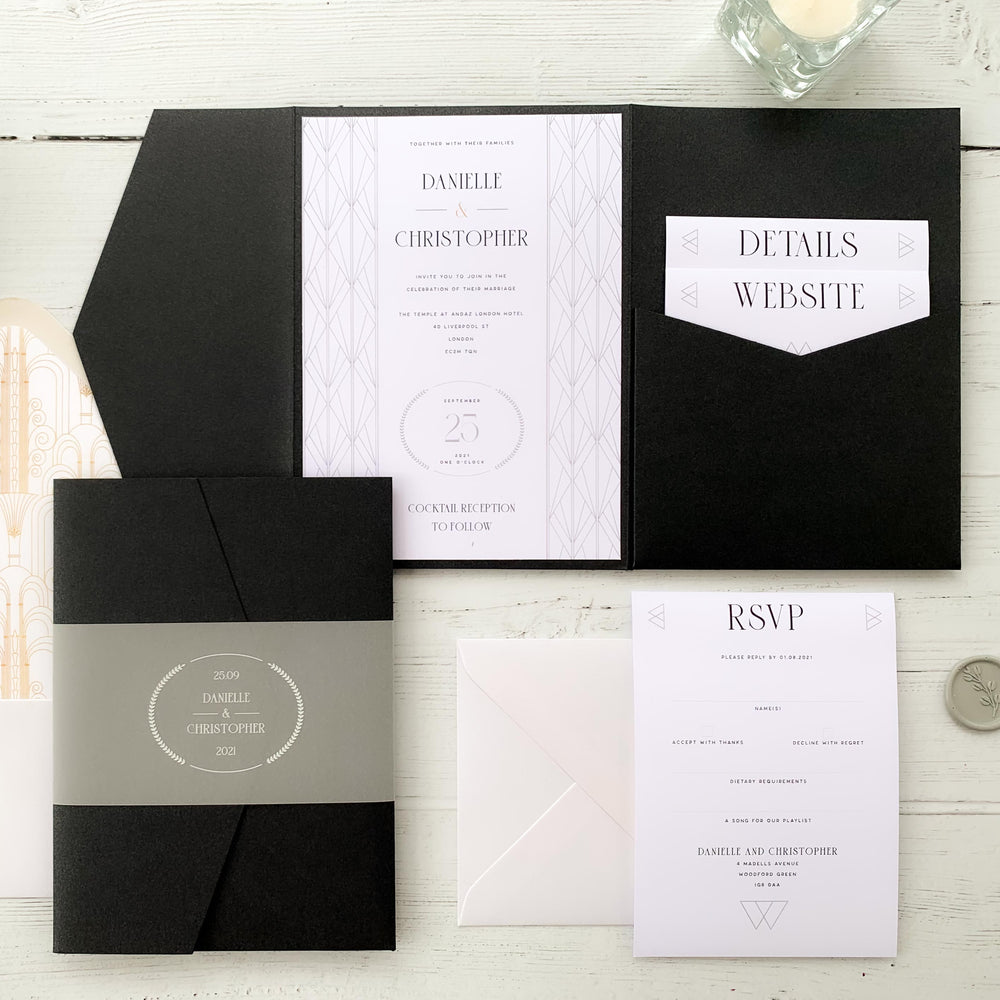 Art Deco Pocketfold Wedding Invitation - Earl's Court Collection, Elle Bee Design