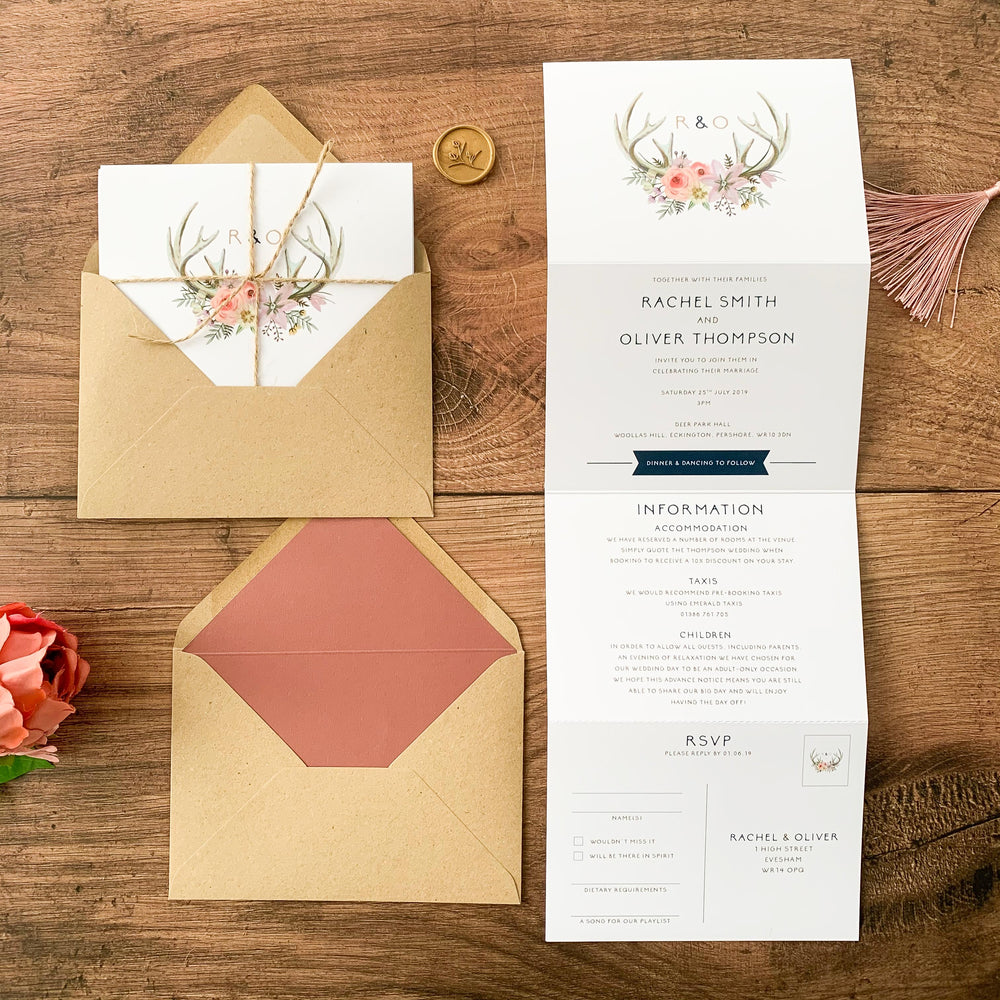 Boho Antlers Concertina Wedding Invitation - Epping Collection, Elle Bee Design