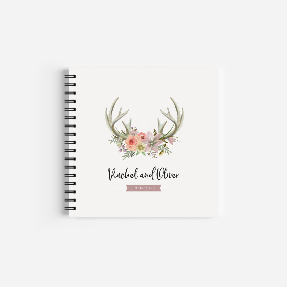 Boho Antlers Wedding Guest Book - Epping Collection, Elle Bee Design