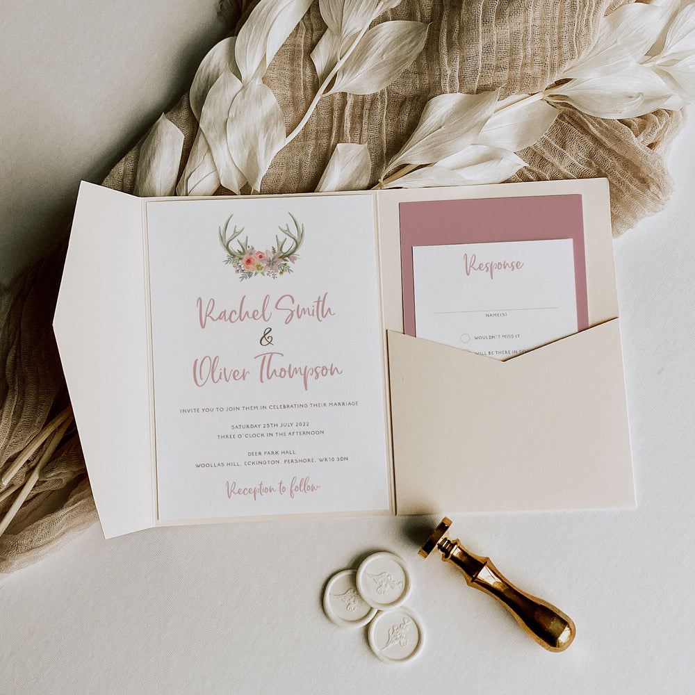 Floral Antler Boho Pocketfold Wedding Invitation - Epping Collection, Elle Bee Design