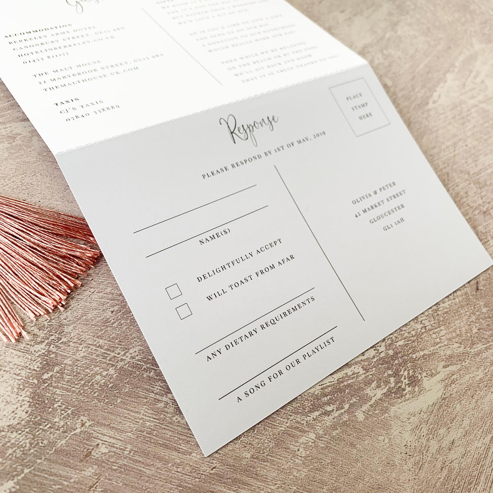 Romantic Pink Concertina Wedding Invitation - Finchley Collection, Elle Bee Design