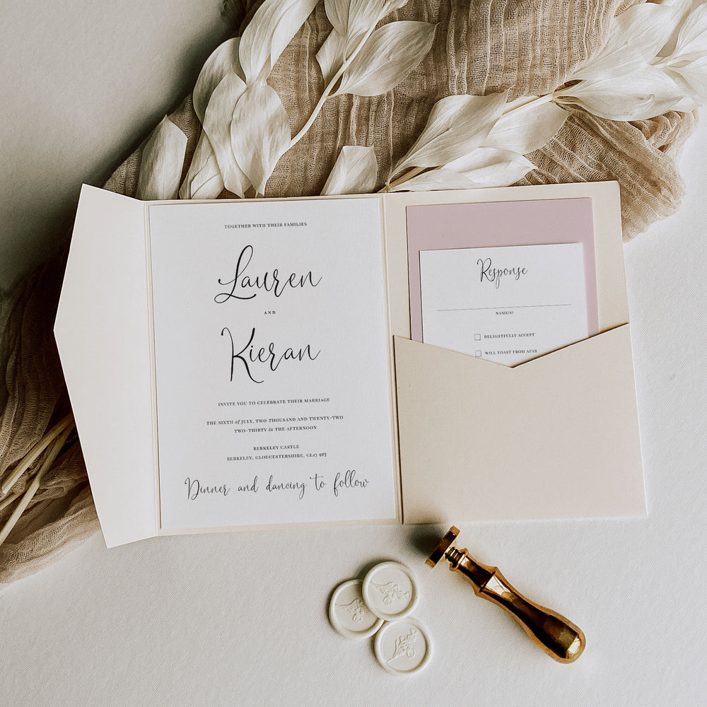 Romantic Script Pocketfold Wedding Invitation - Finchley Collection, Elle Bee Design