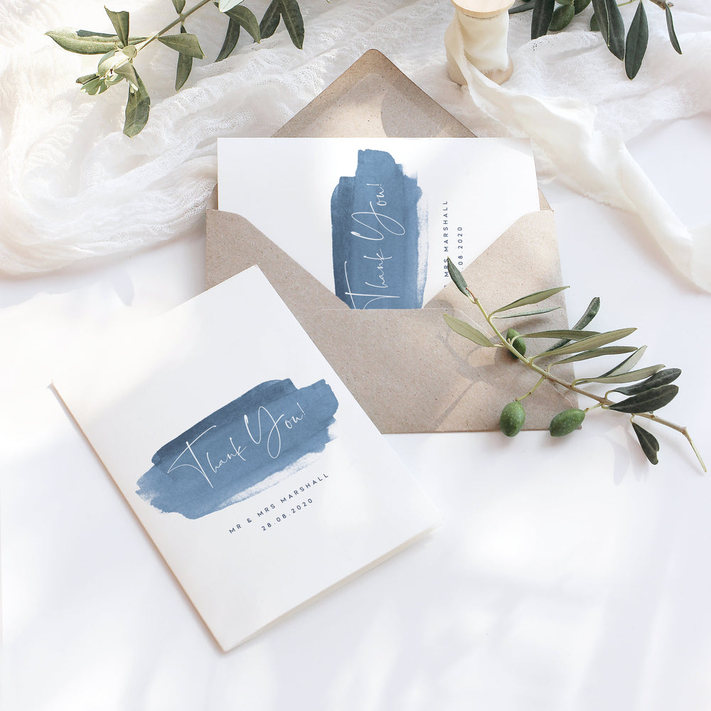 Dusky Blue Wedding Thank You Card - Greenwich Collection, Elle Bee Design