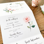 Pink Floral Concertina Wedding Invitation - Hampstead Collection, Elle Bee Design