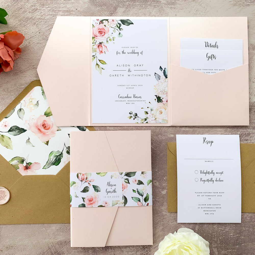 Pink Floral Pocketfold Wedding Invitation - Hampstead Collection, Elle Bee Design