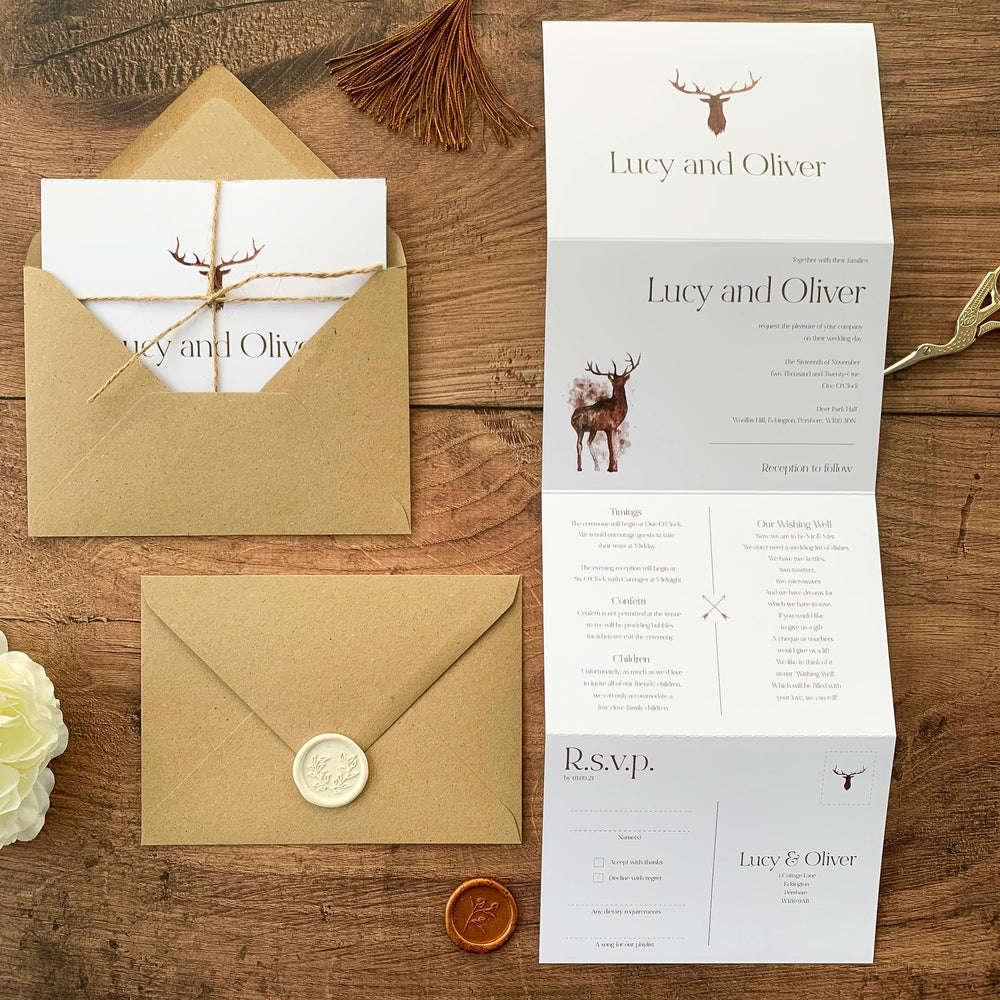 Vintage Deer Concertina Wedding Invitation - Highgate Collection, Elle Bee Design