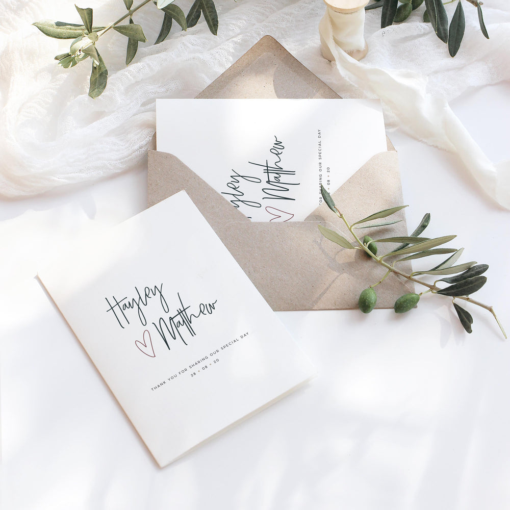 Modern Simple Wedding Thank You Card - Holborn Collection, Elle Bee Design