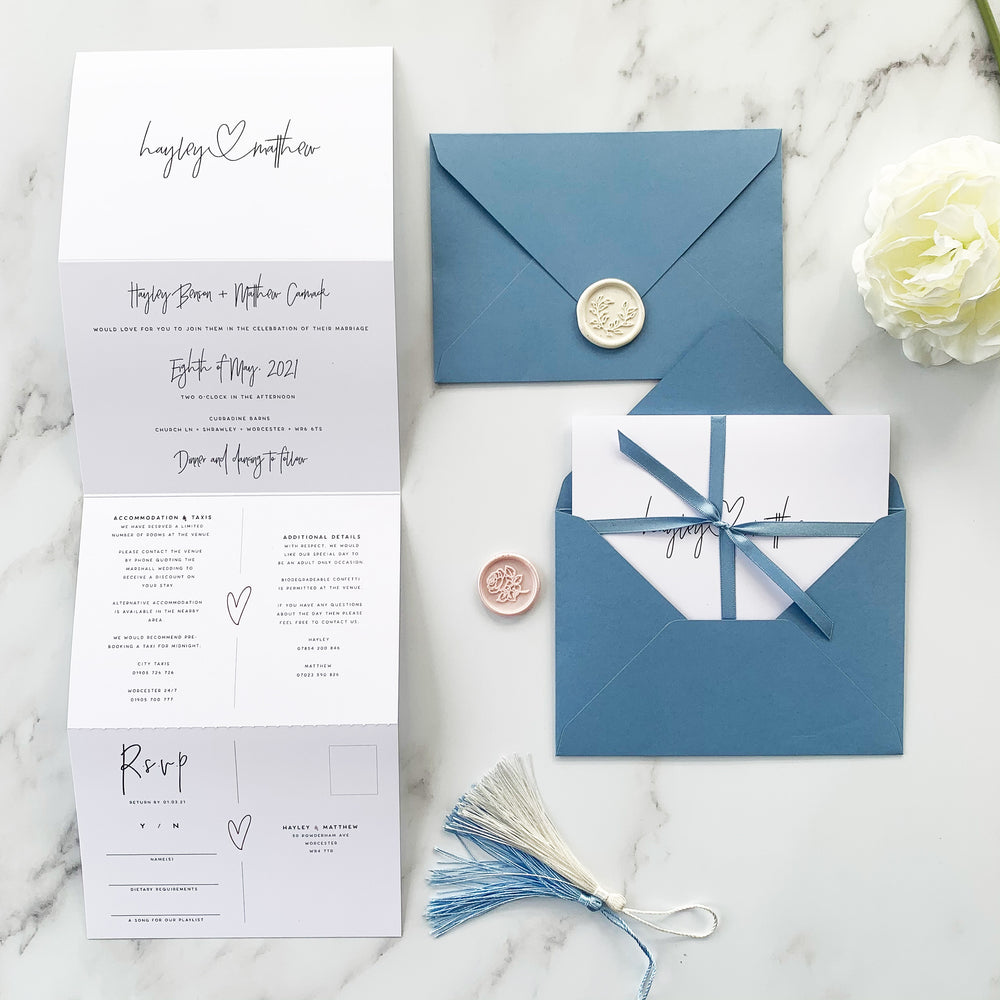 Simple Blue Concertina Wedding Invitation - Holborn Collection, Elle Bee Design