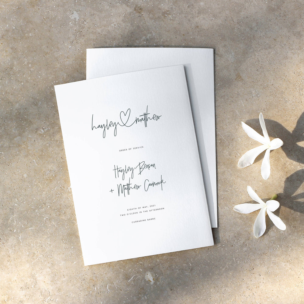 Modern Wedding Order of Service - Holborn Collection, Elle Bee Design