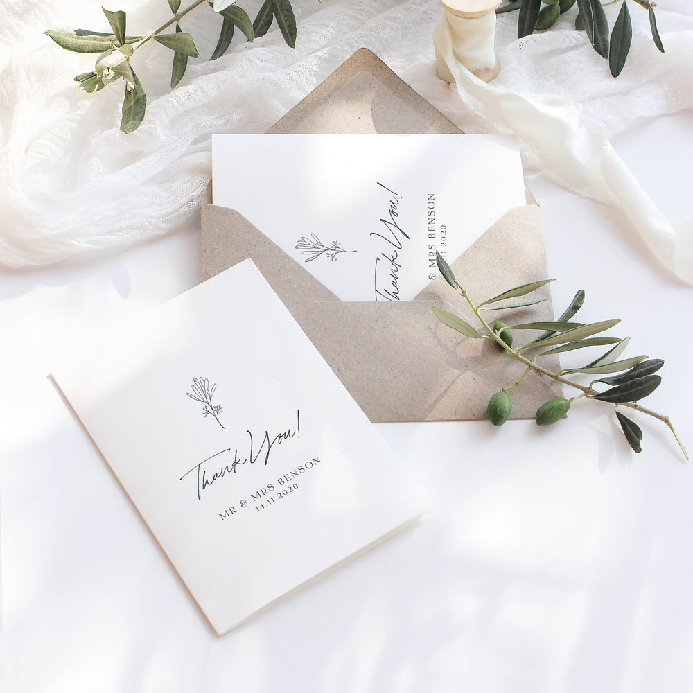 Simple Vintage Wedding Thank You Card - Holland Park Collection, Elle Bee Design