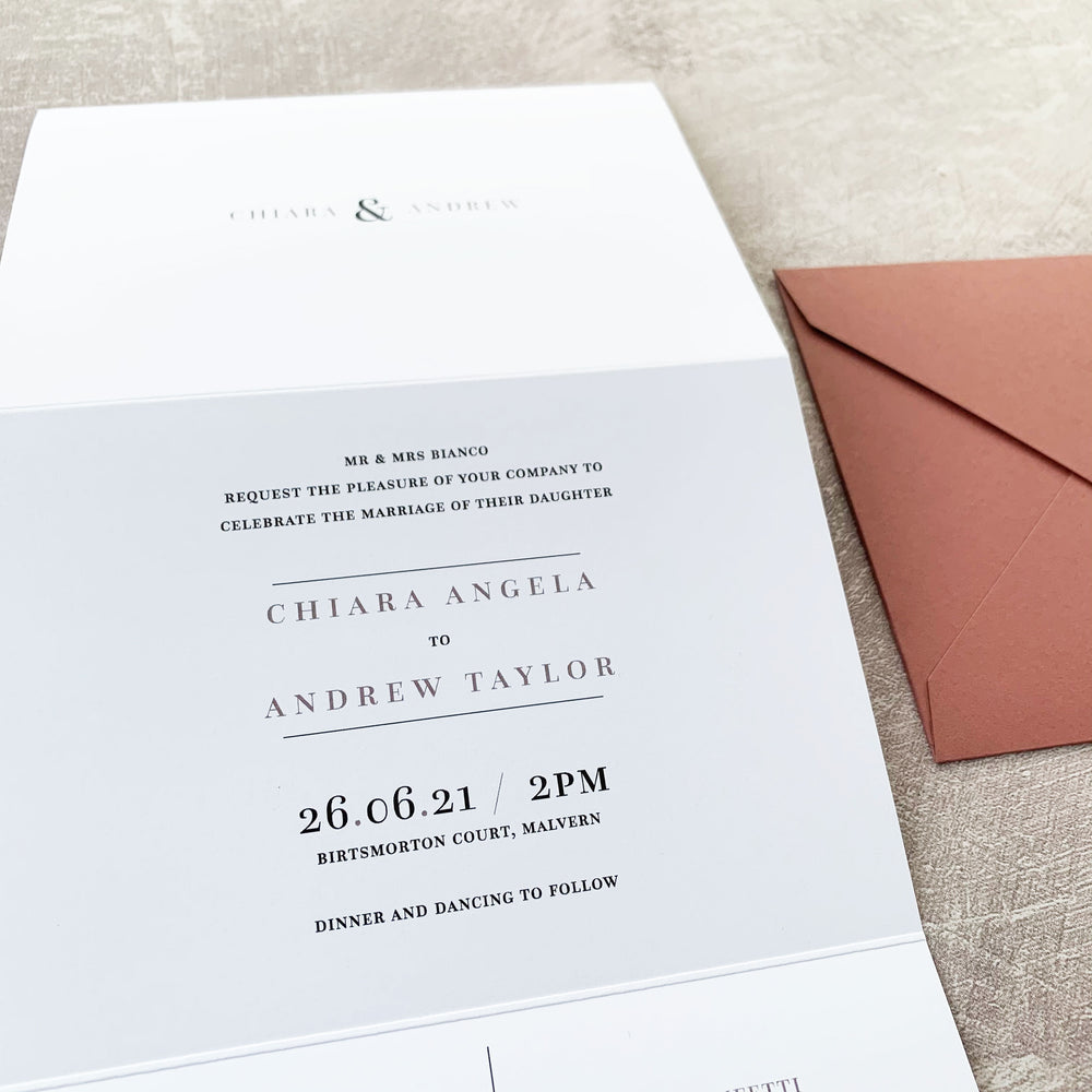Traditional Concertina Wedding Invitation - Hoxton Collection, Elle Bee Design