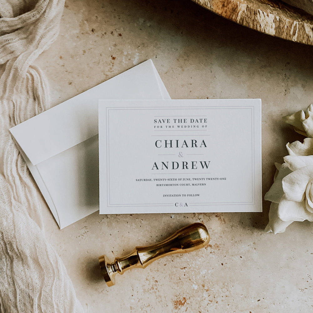 Simple Elegant Save the Date Card - Hoxton Collection, Elle Bee Design