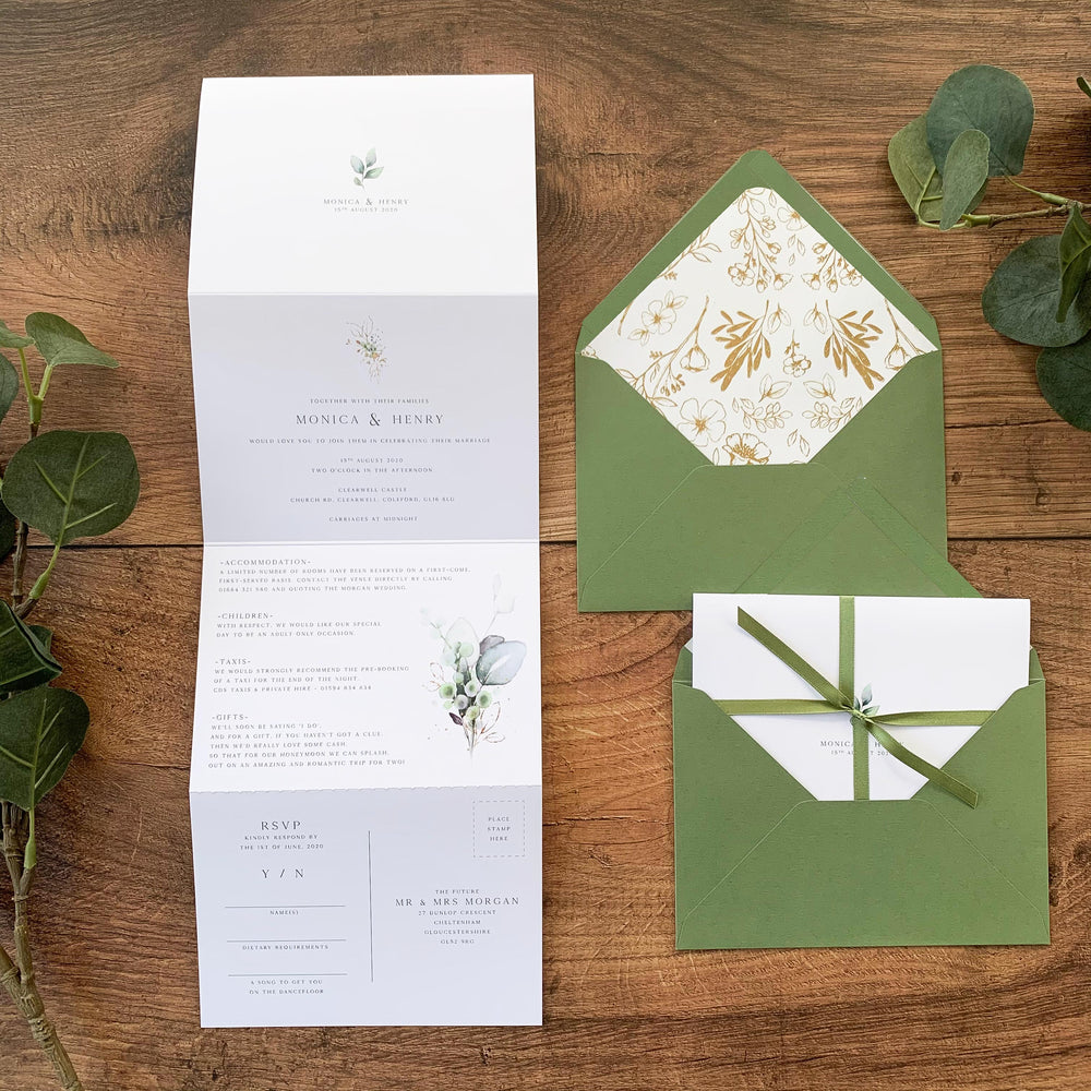 Modern Botanical Concertina Wedding Invitation - Hyde Park Collection, Elle Bee Design