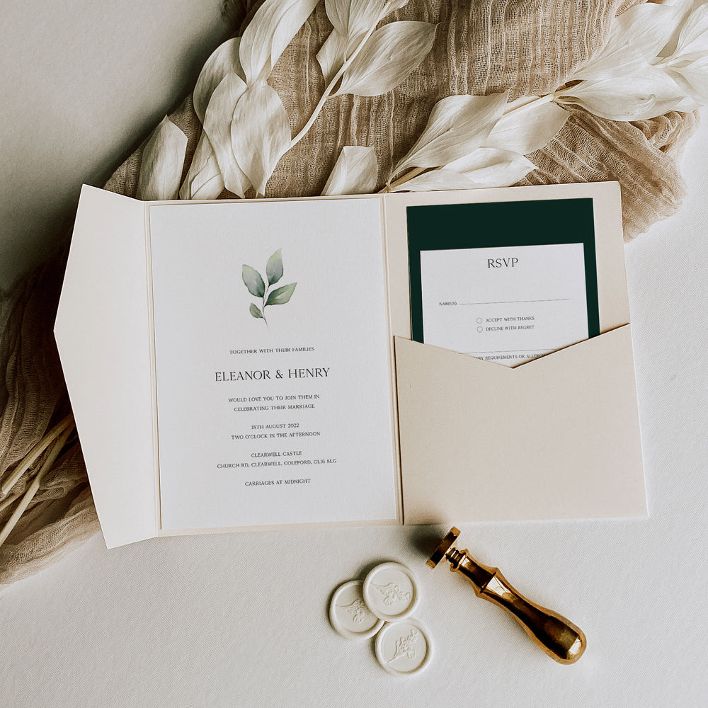 Modern Botanical Pocketfold Wedding Invitation - Hyde Park, Elle Bee Design